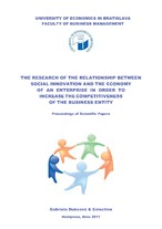 The research of the relationship between social innovation and the economy of an enterprise in order to increase the competitiveness of the business entity